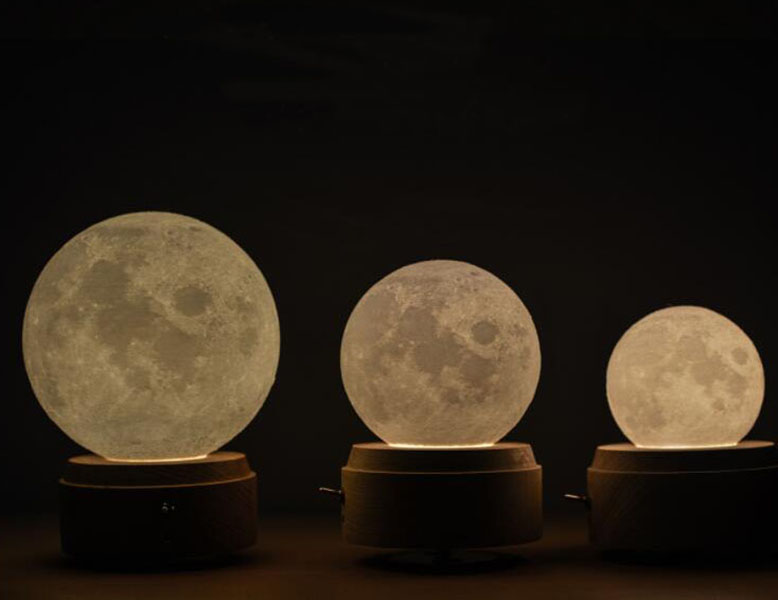 3D LED Printing Moon Lamp Wooden Music Box