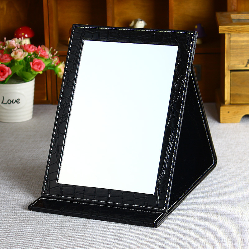 PU Leather Foldable Table Mirror w/ Stand
