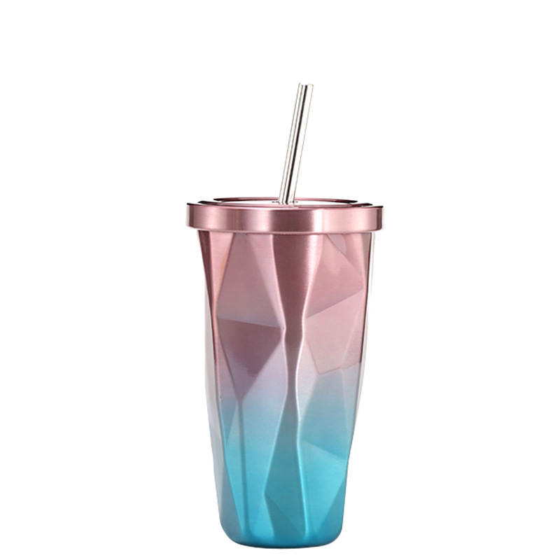 16oz Stainless Steel Irregular Shape Tumbler with Straw