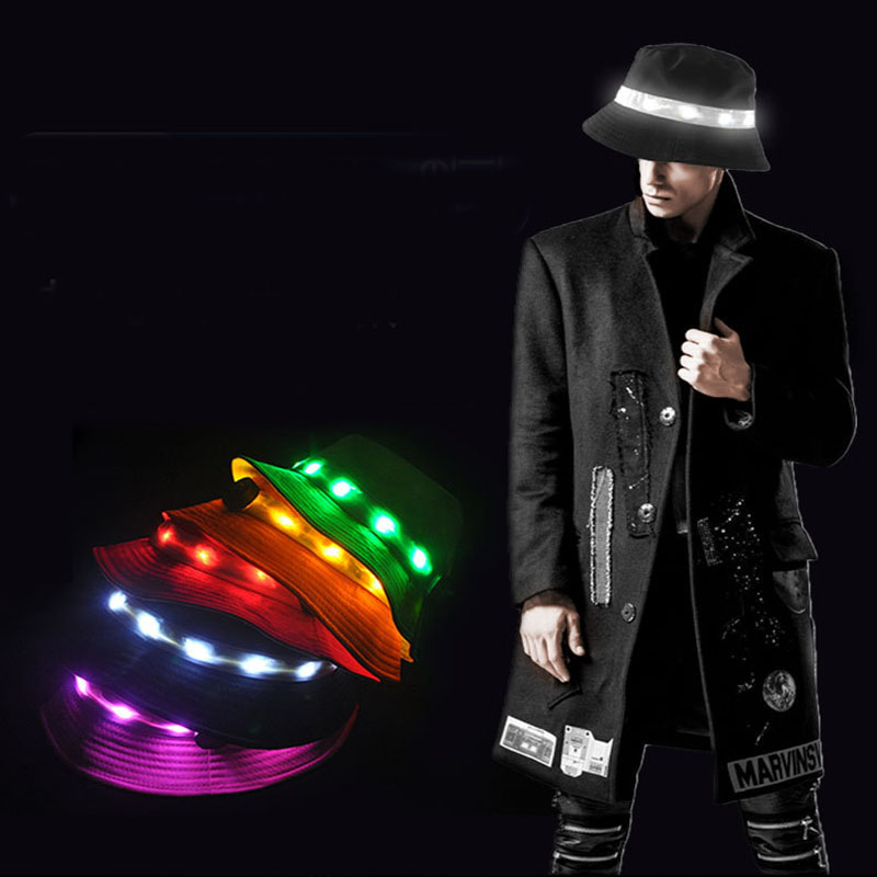 LED Flashlight Bucket Fishing Hat