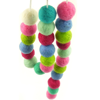 Felt Ball Muticolor Garland Handmade DIY