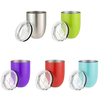 10oz Stainless Steel Double Wall Insulated Wine Cup with Lip