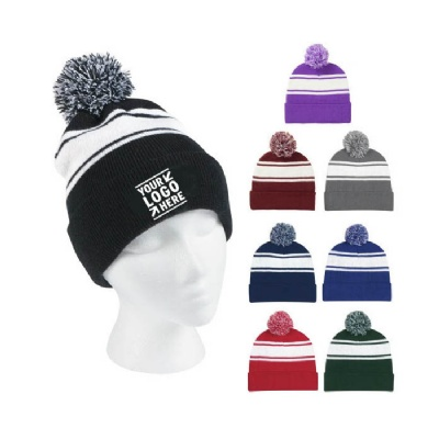 Two-Tone Knit Pom Beanie