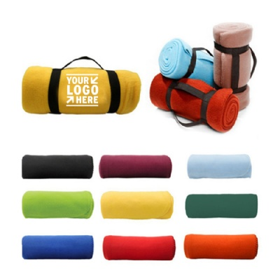 Portable Picnic Polar Fleece Blanket w/ Handle