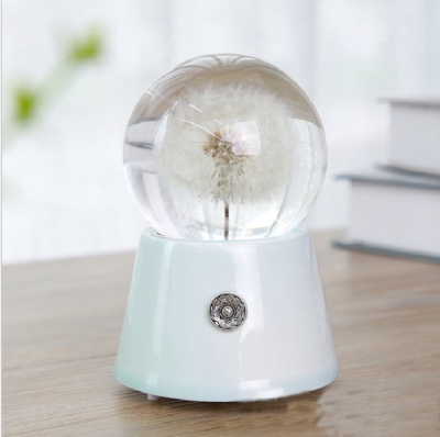 Dandelion Crystal Ball Night Light Music Box