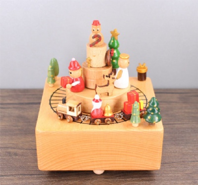 Clockwork Christmas Wooden Music Box