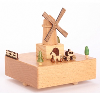 Windmill Wooden Music Box