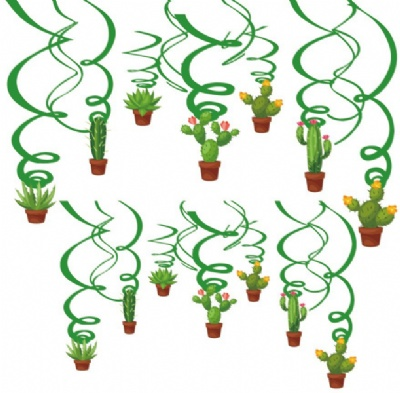 Festive Hanging Swirl Cactus Party Decoration Whirls