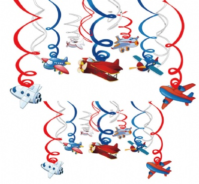 Airplanes Hanging Swirl Party Decorations Whirls