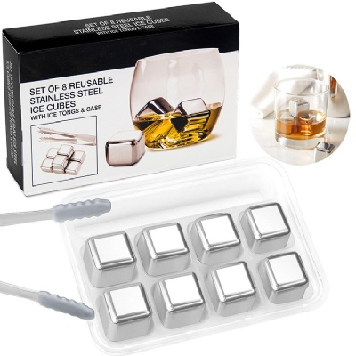 Stainless Steel Reusable Ice Cube with Tong