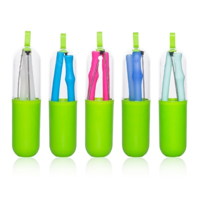 Foldable Silicone Straws w/ Cleaning Brushes Carrying Case