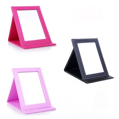 PU Leather Folding Makeup Mirror with Standing