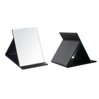 Protable PU Leather Mirror Folding Desktop Makeup Mirror