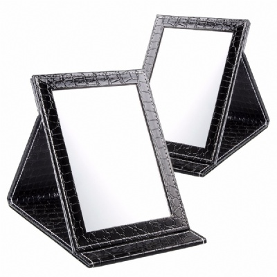 Makeup Mirror Folding Tabletop Mirror PU Leather Cover