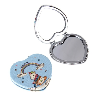 Heart Shape Compact Pocket Size PU Mirrors