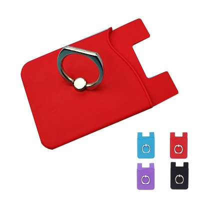 Silicone SmartPhone Wallet with Metal Ring Stand