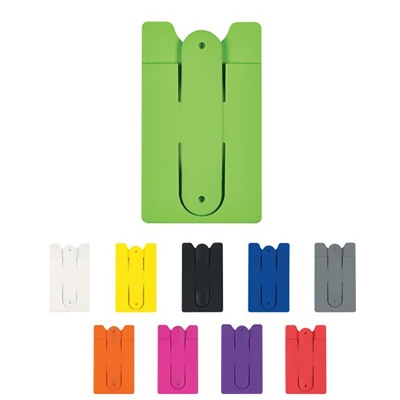 Silicone Phone Sticky Card Holder w/ Stand