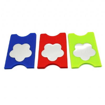 Mirror Silicone Mobile Phone Card Holder