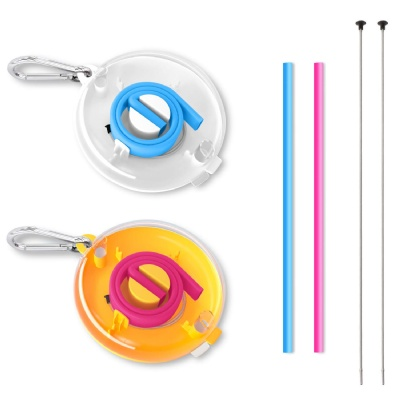 Round Case Silicone Straw w/ Brush Carabiner
