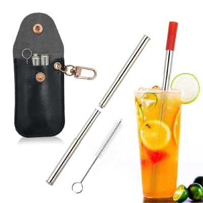 Stainless Steel Straws w/ Keychain PU Pouch Cleaning Brush