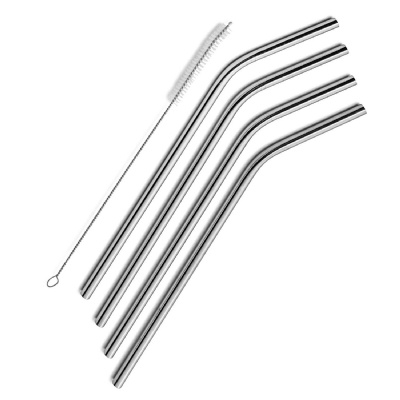 Stainless Steel Bent Straws Set of 4