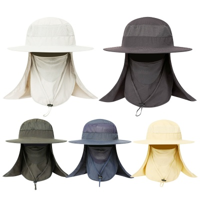Wide Brim Sun Hat with Face Neck Flaps