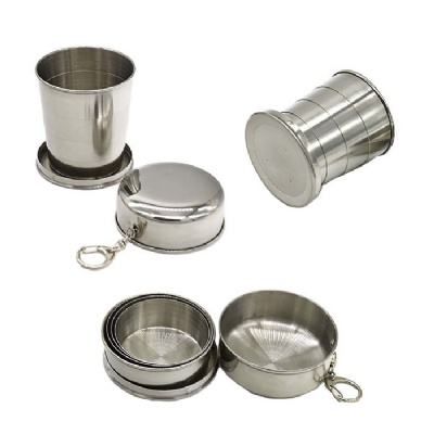 Travel Collapsible Stainless Steel Cup with Keychain