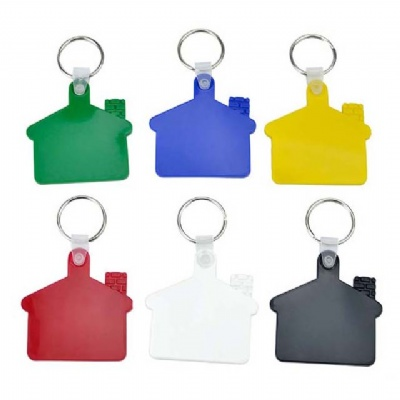 House Shape Plastic Keychain Key Tag