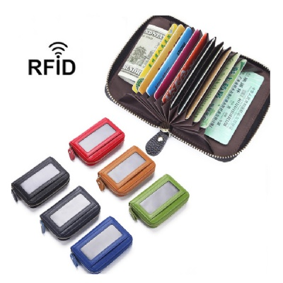 Leather Credit Card Protector RFID Wallet w/ Zipper