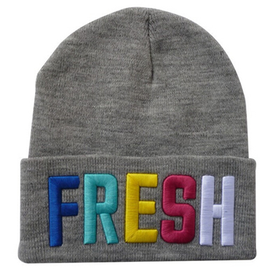 Colorful Embroidered Knitted Beanie