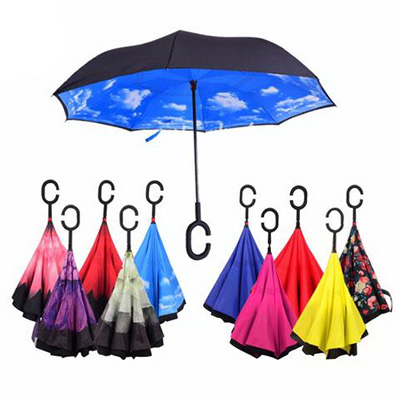 Windproof Inverted Umbrella with C-shaped Hand