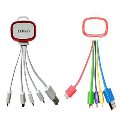 4 in 1 Multiple Charging Cable With LED Key Chain
