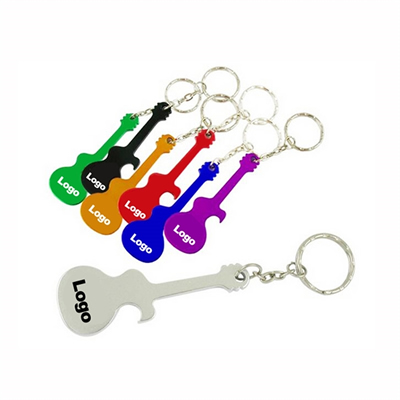 Guitar Shape Aluminum Bottle Opener Key Chain