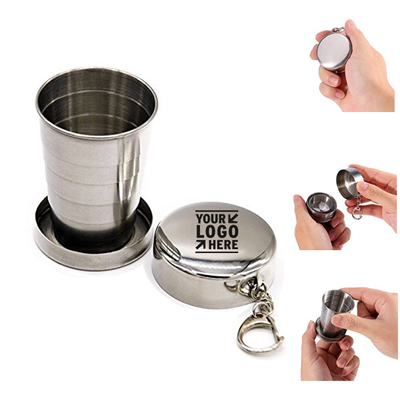 Stainless Steel Collapsible Travel Cup with Key Ring