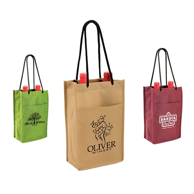Non-Woven Double Bottle Wine Tote Bag