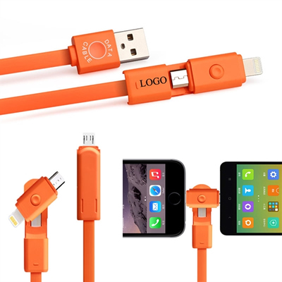 Rotatable USB Charging Cable 2 In 1 Connector