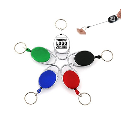Retractable Keychain with Metal Split Ring