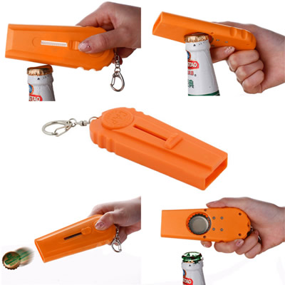 Bottle Opener Cap Launcher Keychain