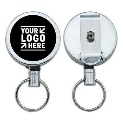 Metal Retractable Reel ID Badge Key Holder With Belt Clip