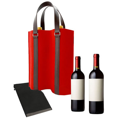 Felt Double Wine Bottle Tote Bag With Handles