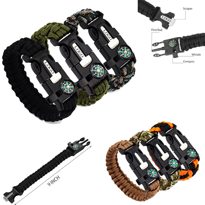 5 IN 1 Multifuctional Paracord Bracelet Outdoor Survival Kit