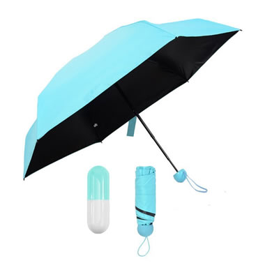 Mini Black Coated 5 Fold Capsule Umbrella