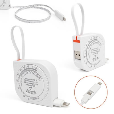 Retractable USB charging cable Tape Measure BMI Calculator