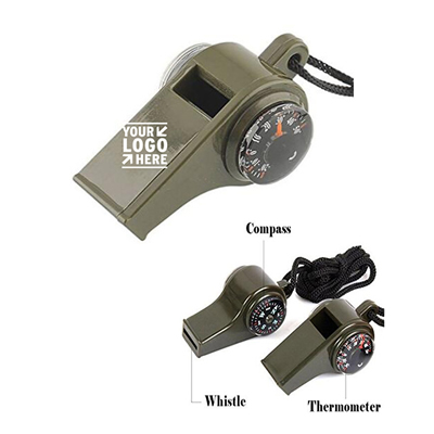 Multifunctional Whistle Compass Thermometer with Lanyard