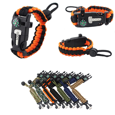 Paracord Bracelet Survival kit with Compass Fire Starter
