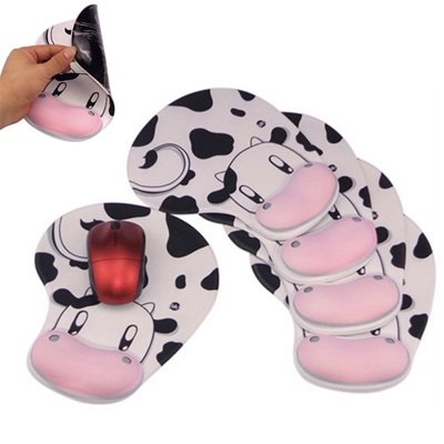 Cow Pattern Mouse Pad with Wrist Supports